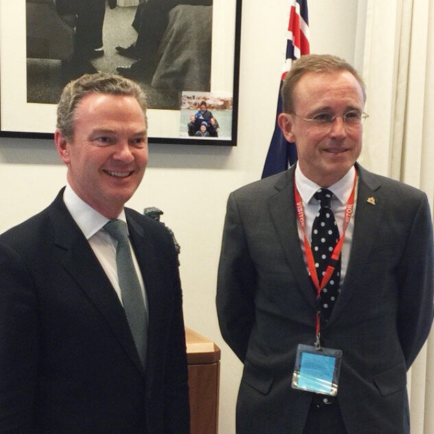 The Honourable Christopher Pyne MP with Lord Mayor Martin Haese, Parliament House, Saint Ignatious College, Old Ignatians